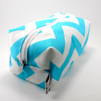 LAST ONE Aqua and White Chevron Boxy Pouch Makeup by ellebeetree