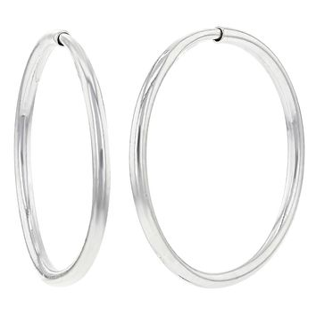 Silver Plated Small Comfortable Plain Endless Hoop Earrings 12mm