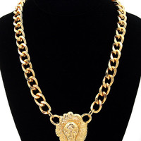 SALE 10% OFF Lion Head necklace, gold chain link lion head necklace, Versace style,chunky gold chain necklace, Rihanna style