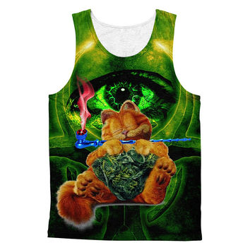 Sleepy Garfield love marijuana 3D print  cotton tanktop