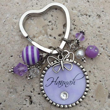 Fully Customizable Personalized Single Bezel Pendant Keychain,Beaded Swarovski Crystals,Pearls,Gifts for her,Bridal Party,Teacher
