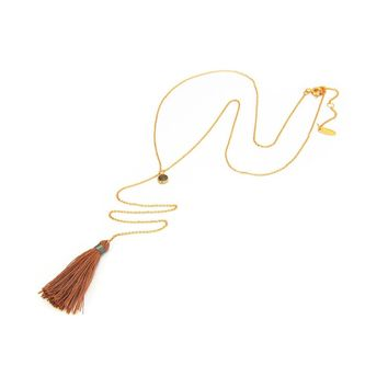 Fronay Co Vintage Labradorite Stone Y Long Chain Tassel Necklace for Women Fashion Jewelry 19 Inch