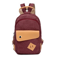 Women's Small Canvas Backpack Campus School Bookbag Travel Daypack