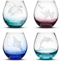 Choose Your Crackle Wine Glass with Tribal Sea Animal Designs