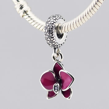 925 Sterling Silver Orchid silver dangle with clear & purple C.Z and purple enamel DIY Beads Fits Pandora Charms Bracelet FL232
