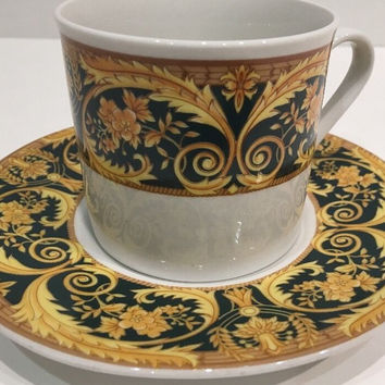 Lynn's Valetta Green Elegant 6Pc. Cup/Saucer China Floral Gold Design Green Rim