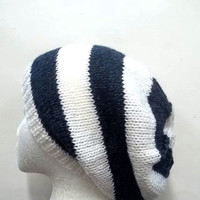 Knitted slouchy beanie hat,  handmade, men, women 4733