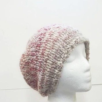 Beanie hat knitted shades of pink bulky  5307