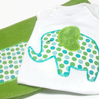 Baby Boy Outfit - Elephant Bodysuit - Elephant for Baby Boy- Fleece Baby Pants - 3-6 Month Baby Boy Clothes - Peapodlilfrogs