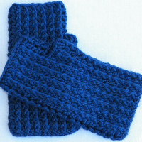 Free Shipping in the U.S.A - Misty Blue - Fingerless Gloves Mittens - Crochet Hand Warmers - Unisex Fingerless Mitts - Short Wrist Warmers