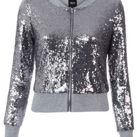 BLINQ SEQUIN BOMBER JACKET GUN METAL