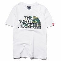 The North Face Summer Fashion New Bust Camouflage Letter Pattern Women Men Top T-Shirt White
