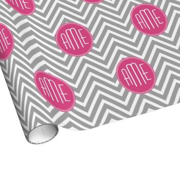 Gray and Pink Chevrons with Custom Monogram Gift Wrap
