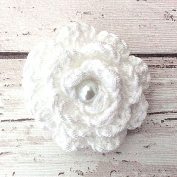 Pure white crocheted flower brooch floral pin