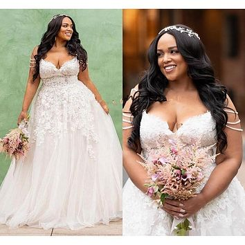 Modest African Plus Size Wedding Dress