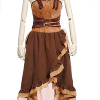 Steampunk Buckle Lace-Up Dress Brown Tan