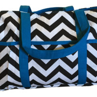 CLEARANCE BayB Brand Diaper Bag - Black Chevron & Blue