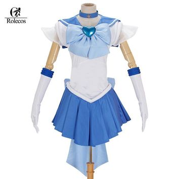 Rolecos Brand Japanese Classic Anime Sailor Moon Cosplay Costume Mizuno Ami Mercury Cosplay Costume Sets