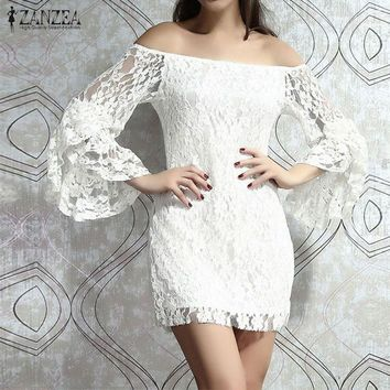 Women's Sexy Summer White Lace Mini Dress.   Off The Shoulder With Flare Sleeves.   *Quantities Limited.   Sizes Small to 2XL.    ***FREE SHIPPING***