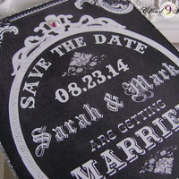 Vintage Chalkboard Save the Date Wedding Chalk Board and Bling Wedding Announcement handmade save the date cards