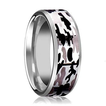 Tungsten Camo Ring - Black and Gray Camo  - Tungsten Wedding Band - Beveled - Polished Finish - 8mm - Tungsten Wedding Ring