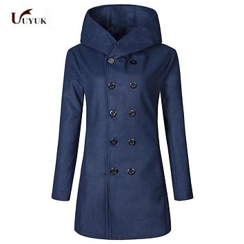 2017 New Autumn Winter men's wool amp blend Coat double Breasted medium-long male thickening outwear casual Windbreaker