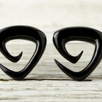 "Triangle Spiral Gauges Black Horn stretchers earrings 16g 14g 12g 10g 8g 6g 4g 2g 0g 00g 1/2""  Expanders - GA006 H G1"