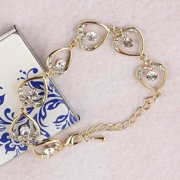 Gold Plated Chain Bracelet Jewelry Set
