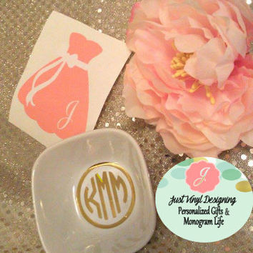 Bridesmaid Gown, Dress Decal, Monogram Decal, Bridesmaid Gift