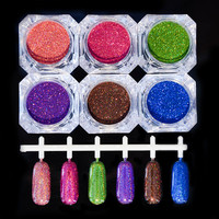 1.5g/Box Holographic Laser Powder Nail Glitter Gorgeous Glitter Powders 6 Colors