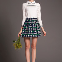 Printed Pleated A-Line Mini Skirt
