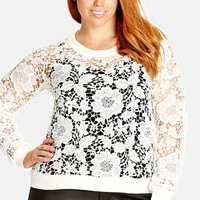 Plus Size Women's City Chic 'Lace Lover' Pullover,
