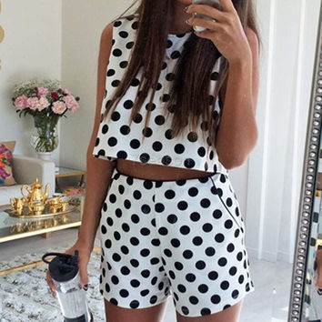Summer Women's Dots 2pcs Set outfit Casual Sleeveless Crop Tops and Shorts  7_S = 1913356356