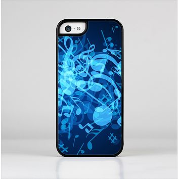 The Glowing Blue Music Notes Skin-Sert Case for the Apple iPhone 5c