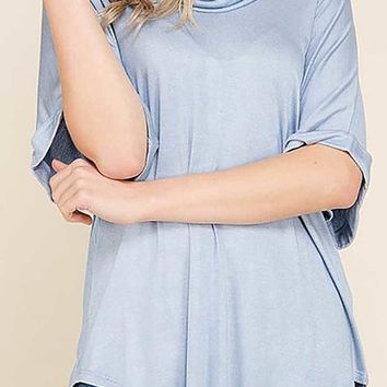 Oil Wash Cowl Neck Roll Up Sleeve Hi Lo Knit Tunic Top