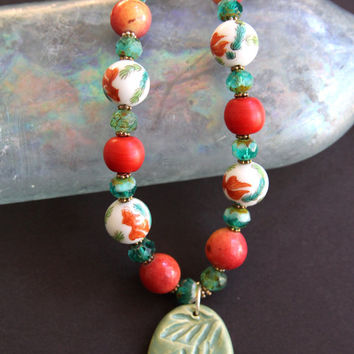 On Sale Vintage Koi Ceramic Bead Necklace Set Hand Painted Goldfish Beads w Apple Coral Green Czech Glass Matching Earrings