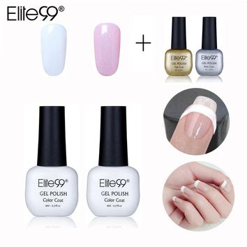 Elite99 8ml Soak Off Nail Gel Polish French Nail Manicure Set Pink White Color Top Base Coat With Tip Guides Nail Art Decoration