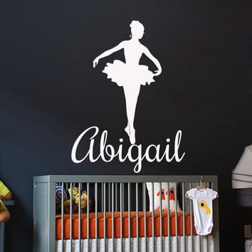 Name Wall Decals Vinyl Stickers Ballerina Decal Girl Nursery Bedroom Art LM102