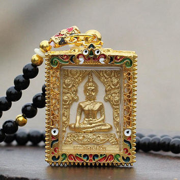Vintage Gold Plated Buddha Amulet Pendant Necklace ~