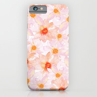 orange and pink watercolor dahlias iPhone & iPod Case by Sylvia Cook Photography