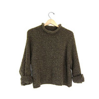 Vintage nubby green sweater. cropped sweater. mock neck knit simple pullover. nubby knit top. womens large sweater