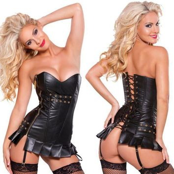 Summer Party Gothic Steampunk Black Lace up Zip Faux Leather Cool Bustier Overbust Brocade Sexy Top Corset