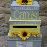 Custom Wedding Card Box, 3 Tier, Card Holder, Square, Yellow and Gray, Sunflowers, Wedding Decor