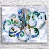Octopus print - beach decor-  bohemian decor - Mixed media collage art - Ocean art