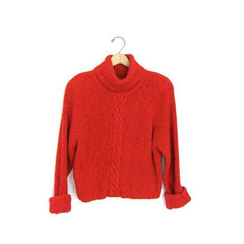 Speckled cropped sweater Cable knit jumper Womens boxy pullover Turtleneck Raglan 90s Preppy Sweater Small Meidum