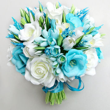 Sky Blue wedding bouquet, blue, white bridal bouquet, turquoise, tiffany bouquet. Real touch, alternative bouquet