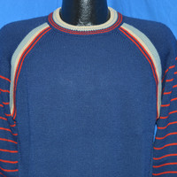 70s Navy Blue Striped Raglan Pullover Sweater Large
