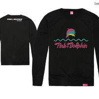 5 Colors Hot Sale New Spring & Autumn Cotton Pink Dolphin Waves & Multicolor Dolphins Print Men's O-Neck Long Sleeve Tee Shirts