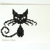 Cross stitch card Embroidery cat wall art for framing by Xatara