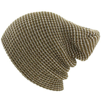 Winter Made USA 2ply Pinstripe Stretch Knit Slouch Long Beanie Ski Hat Cap Olive